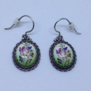 silver porcelain pendant earrings